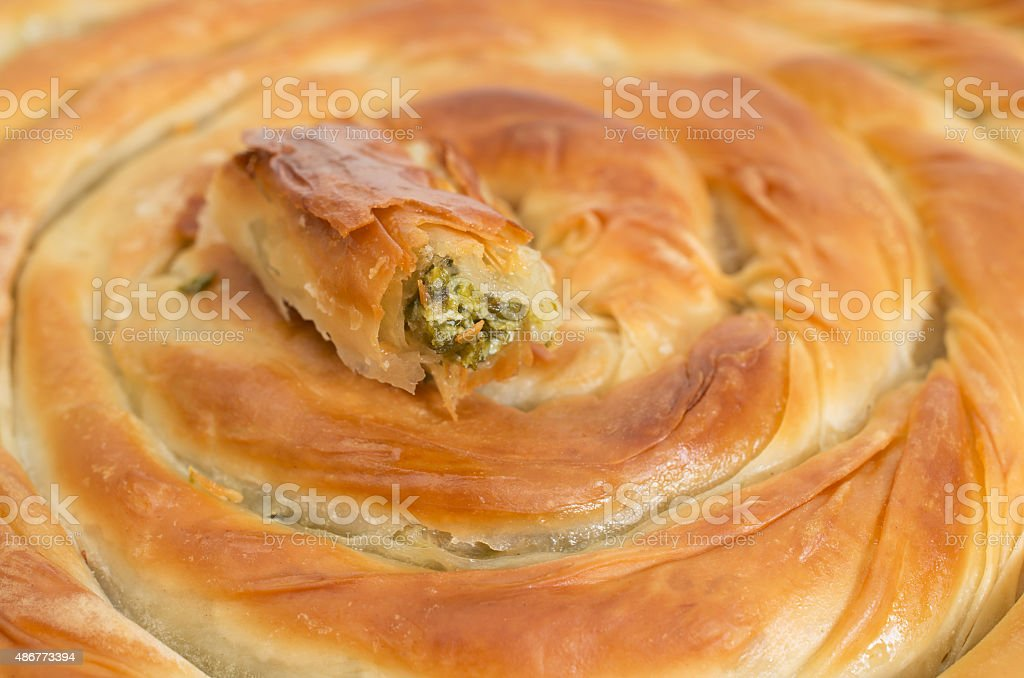 Filo pastry close up studio shot stock photo