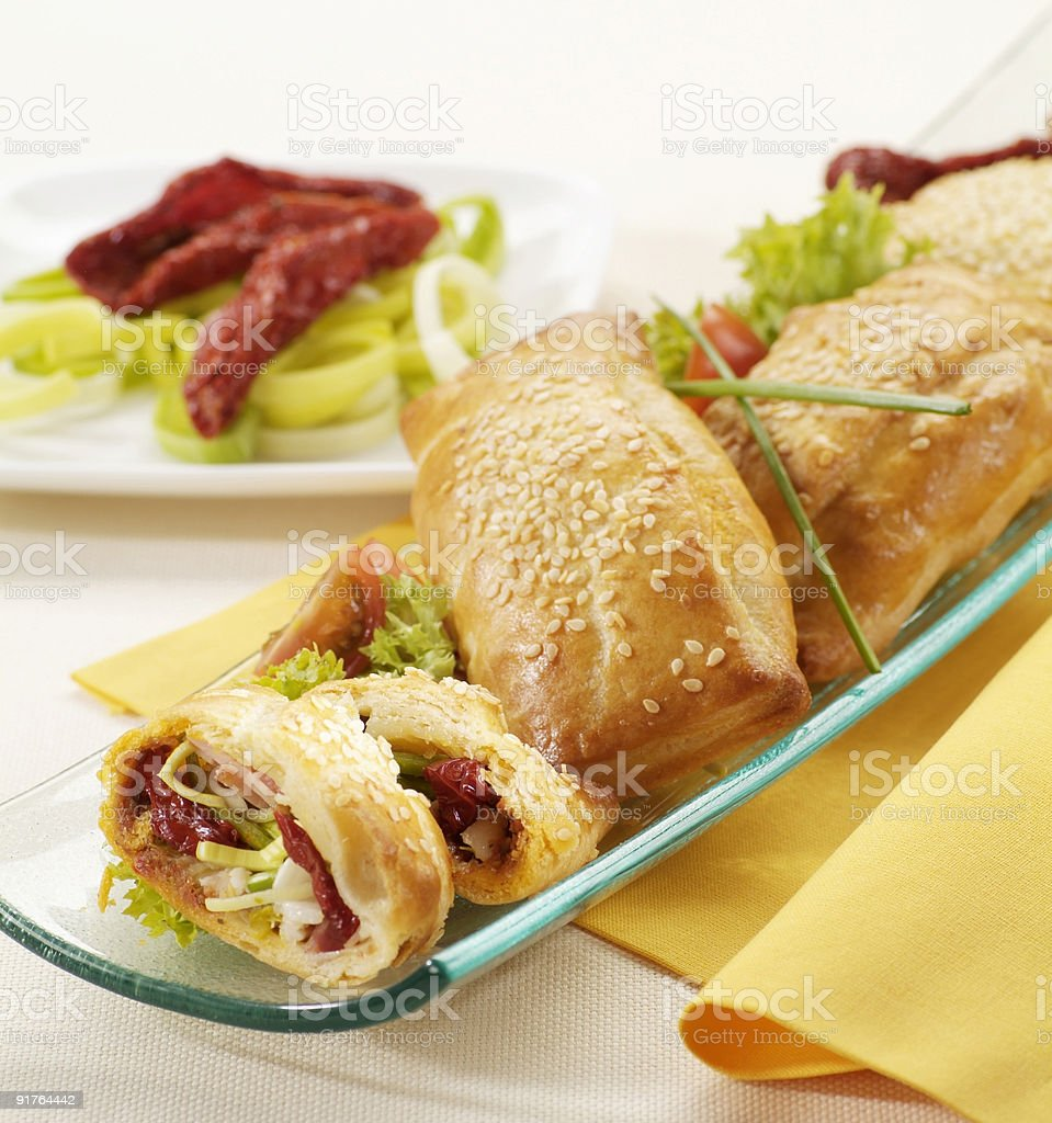Filo pastry filled with dried tomatoes royalty-free stock photo