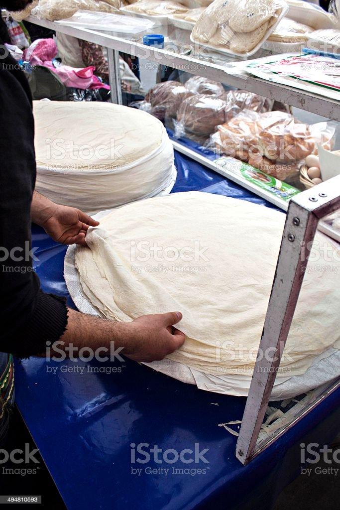 Filo pastry leaves stock photo