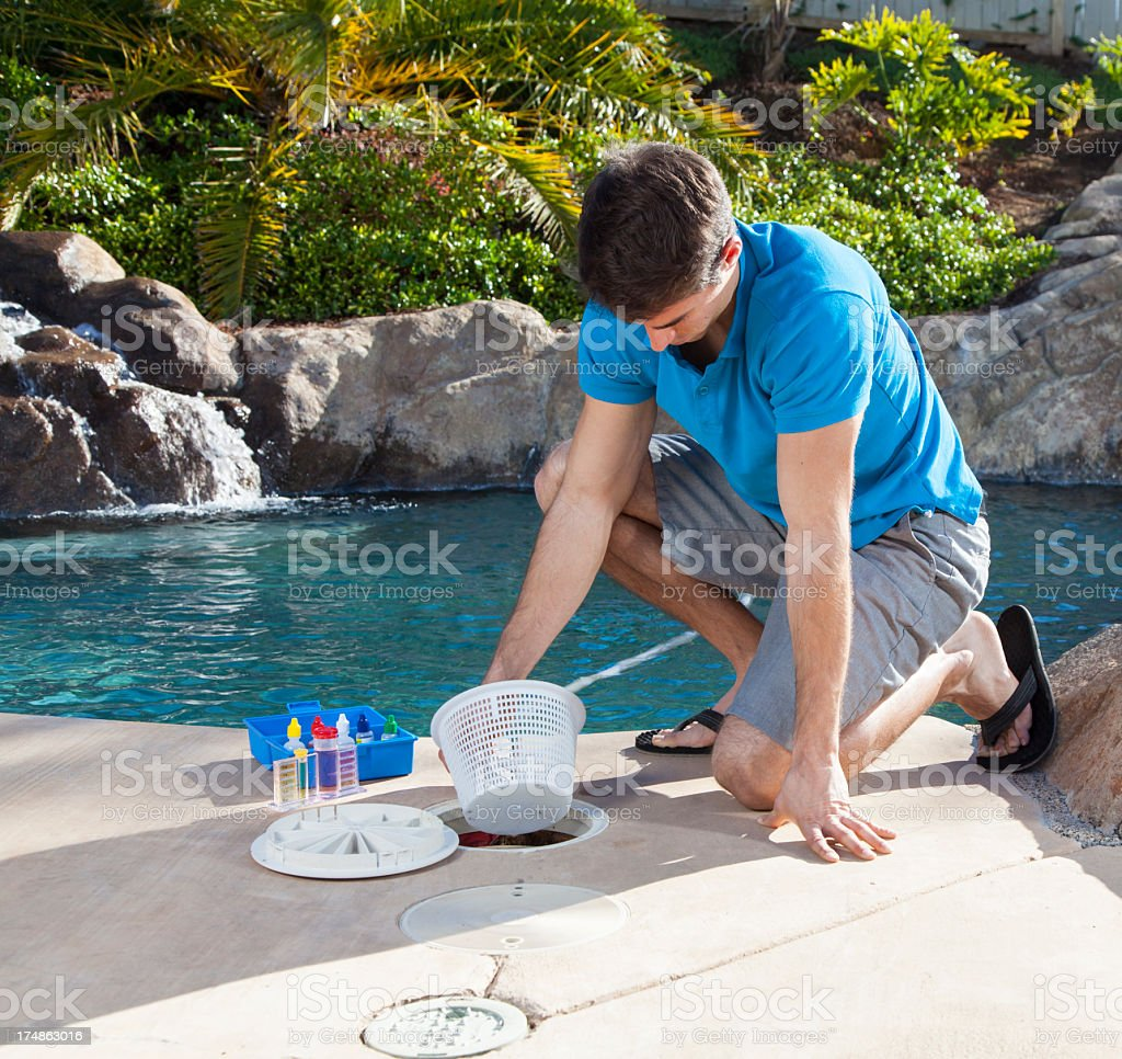 Filter Basket Cleaning royalty-free stock photo