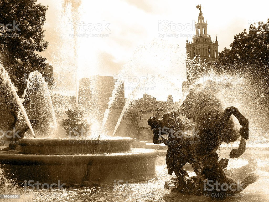 Filtered view of the City of Fountains stock photo