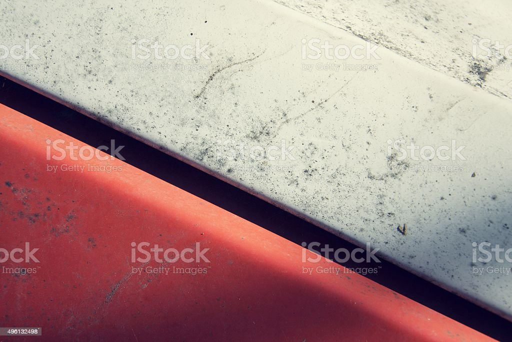 Filtered vintage red and white metal rusty background stock photo