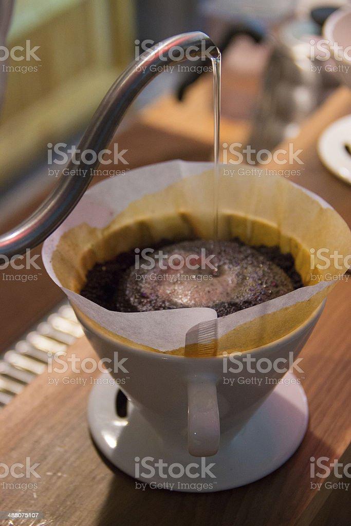 Filtering coffee stock photo