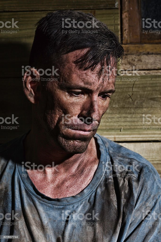 Filthy Manual Worker After His Shift stock photo