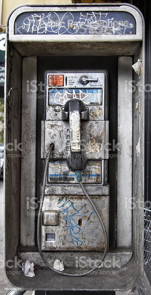 Filthy New York City Pay Phone stock photo