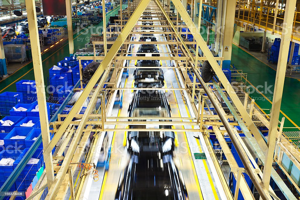 Final assembly line of car factory stock photo