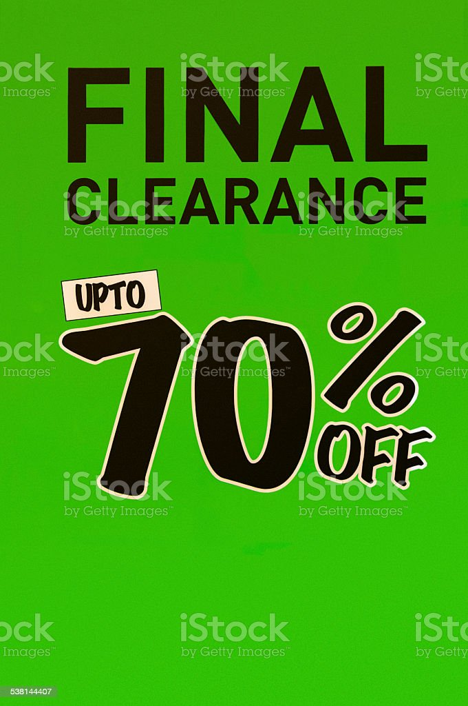 Final Clearance Sign In A Shop Window stock photo