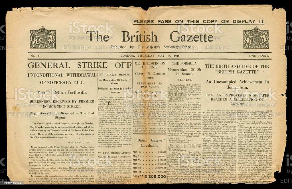 Final edition of The British Gazette 13 May 1926 stock photo