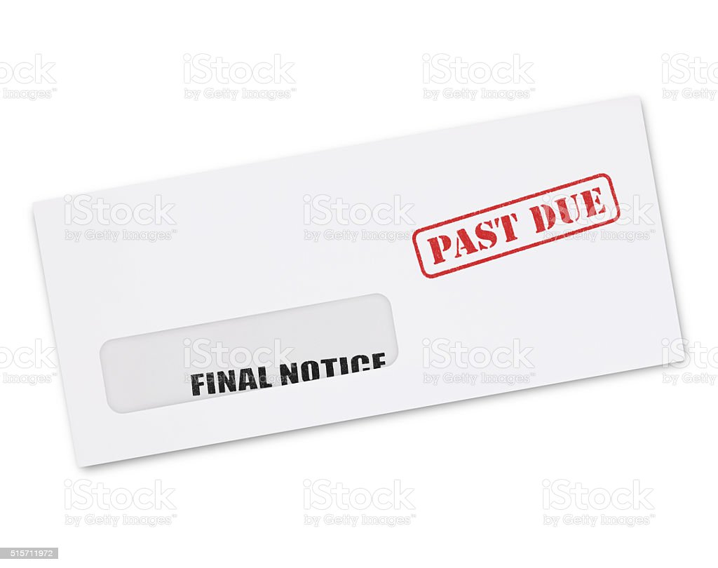 Final Notice Envelope (with path) stock photo