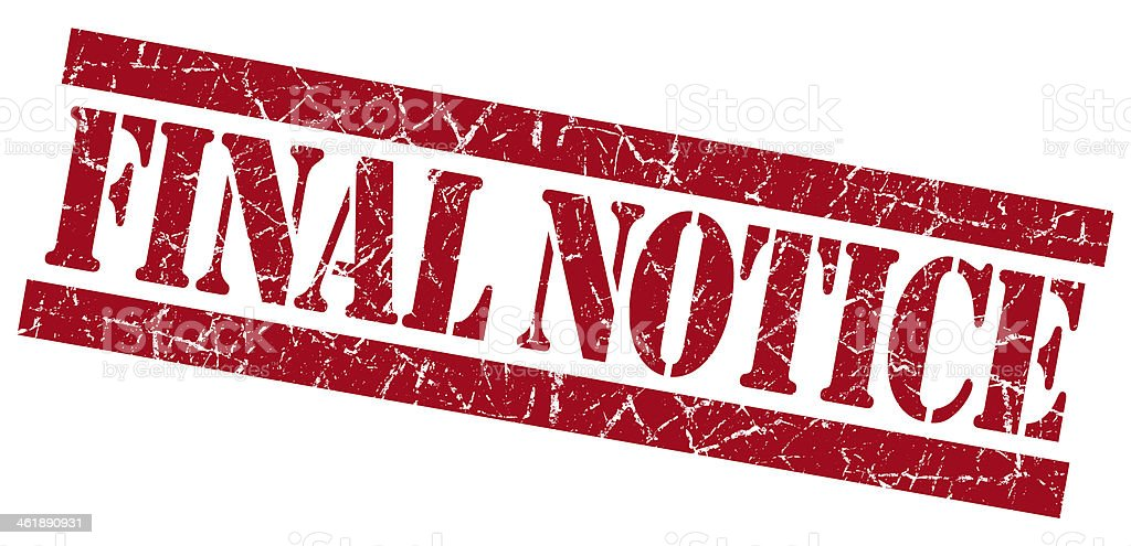 Final notice grunge red stamp stock photo