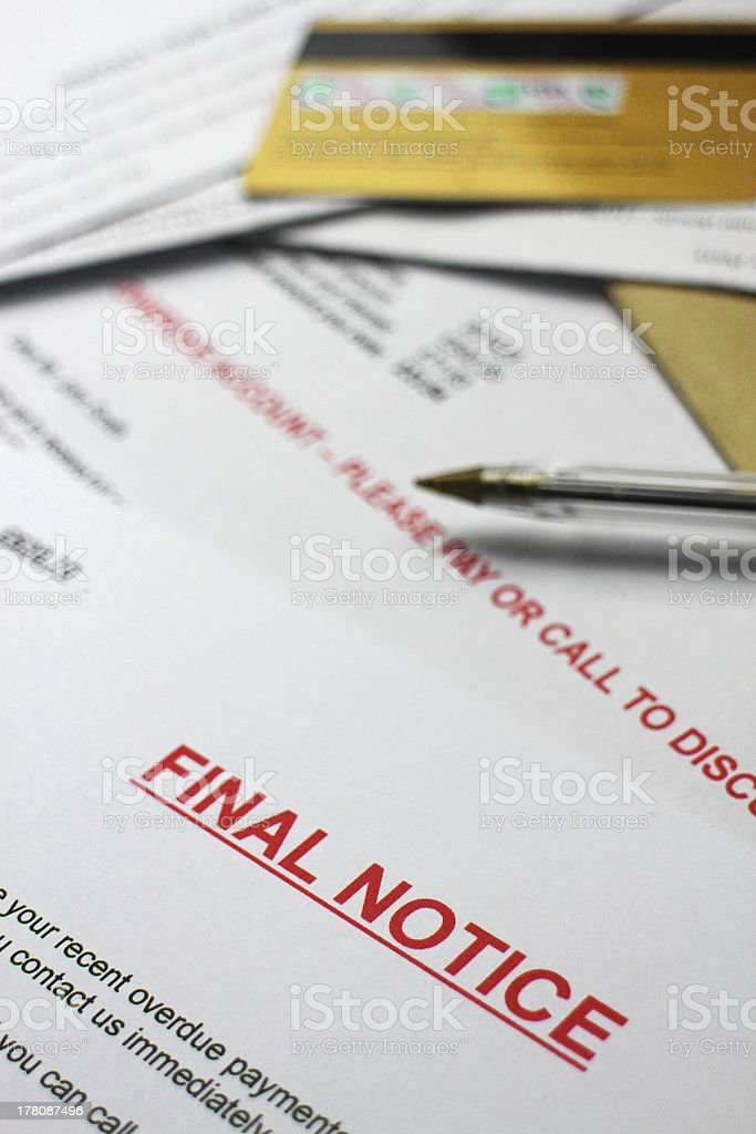 Final Notice Papers stock photo