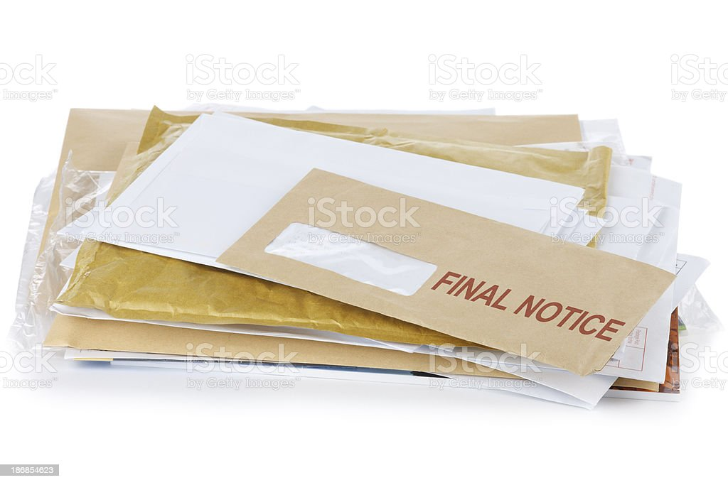 Final Notice stock photo