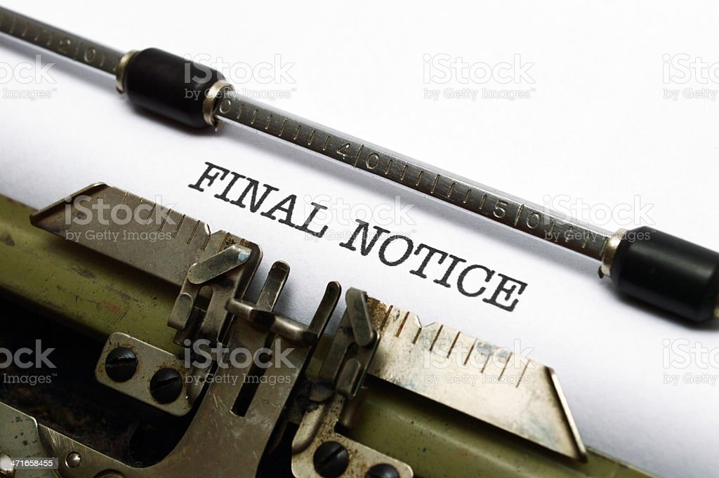 Final notice royalty-free stock photo
