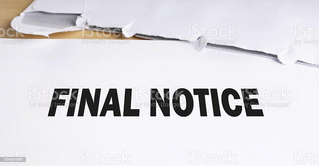 final notice stock photo