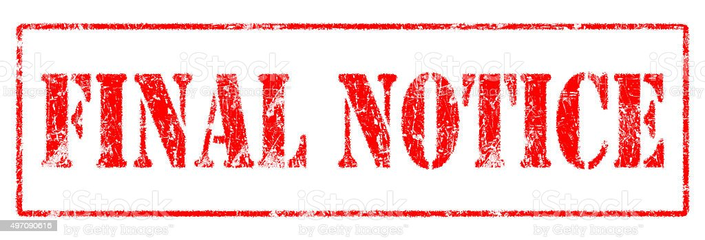 Final Notice  - Rubber Stamp stock photo
