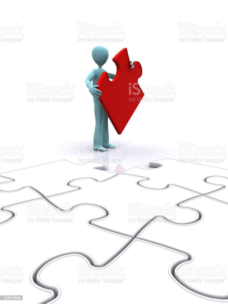 Final Piece of the Jigsaw puzzle stock photo