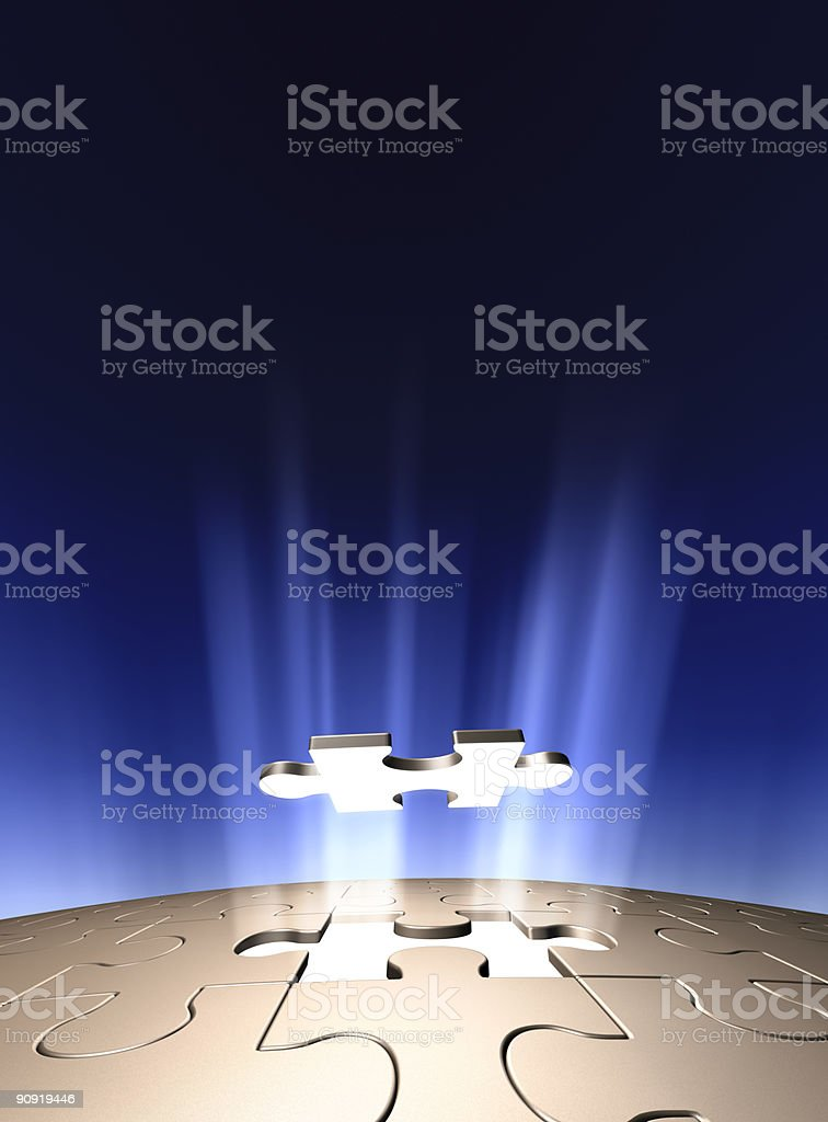 Final piece of the puzzle with blue background stock photo
