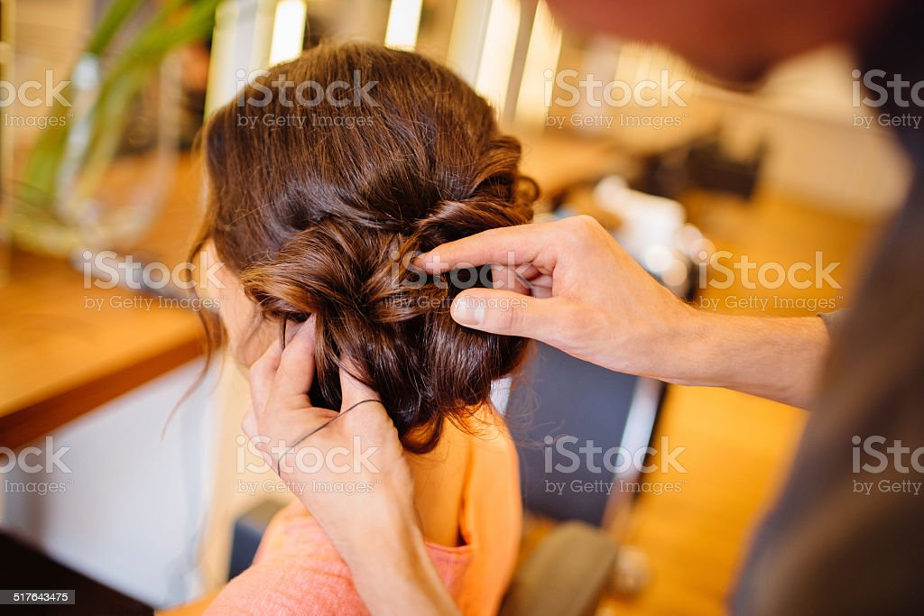 Final Touches On Updo stock photo