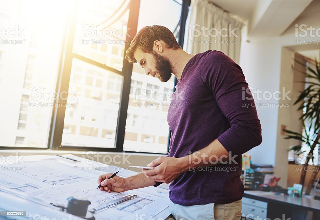 Finalizing the plans stock photo