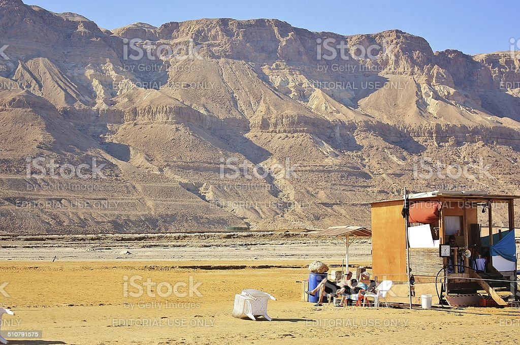 Finally alone in the desert by the sea. stock photo