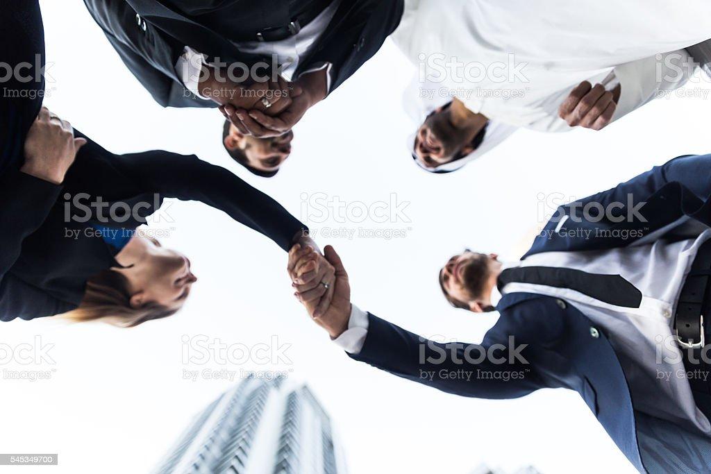 Finally an agreement between multinational business group stock photo
