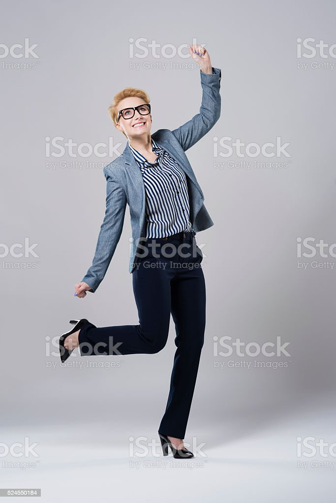Finally she managed to achieve it stock photo