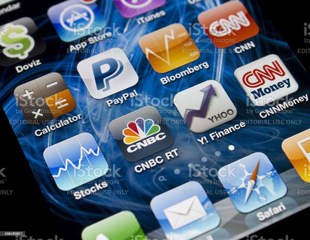 Finance and Economy Applications on Iphone 4 royalty-free stock photo