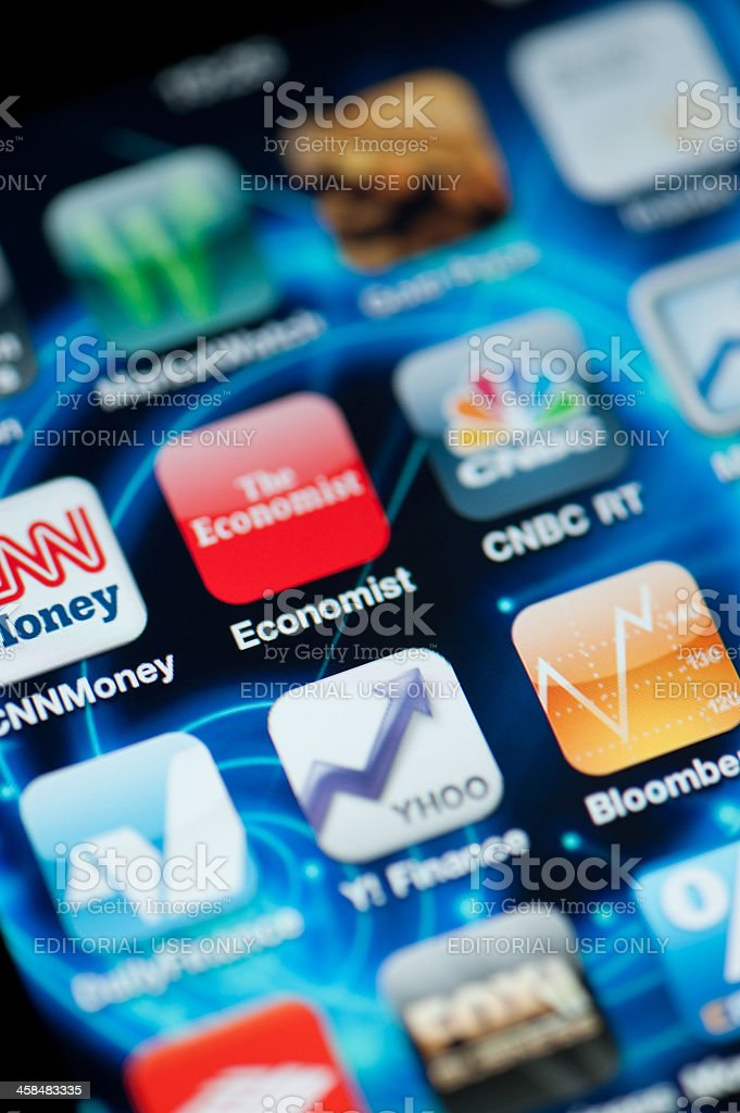 Finance and Economy Applications on Iphone royalty-free stock photo