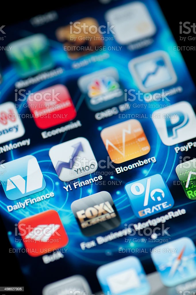 Finance and Economy Applications on Iphone stock photo