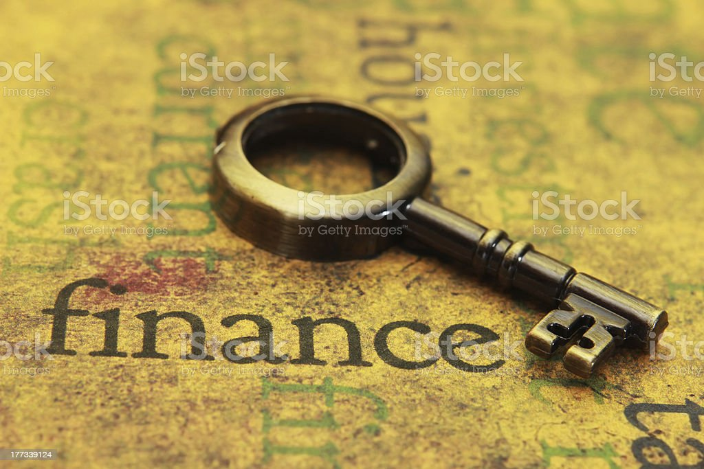 Finance and old key stock photo