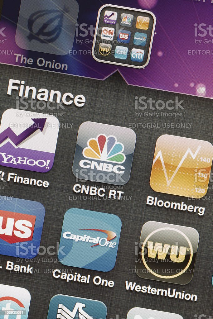 Finance Applications on Iphone 4 stock photo