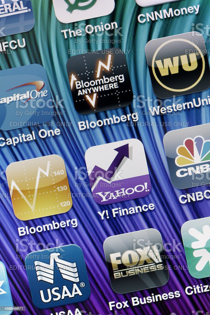 Finance Apps on Apple iPhone 4 Screen stock photo