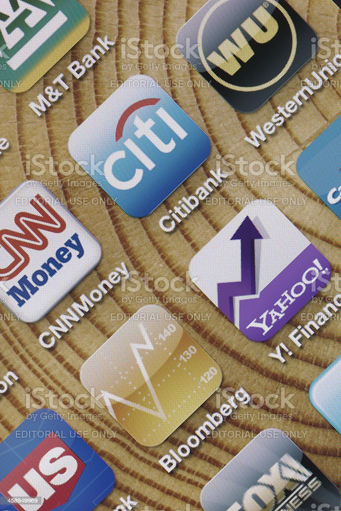 Finance Apps on Apple iPhone 4 Screen royalty-free stock photo