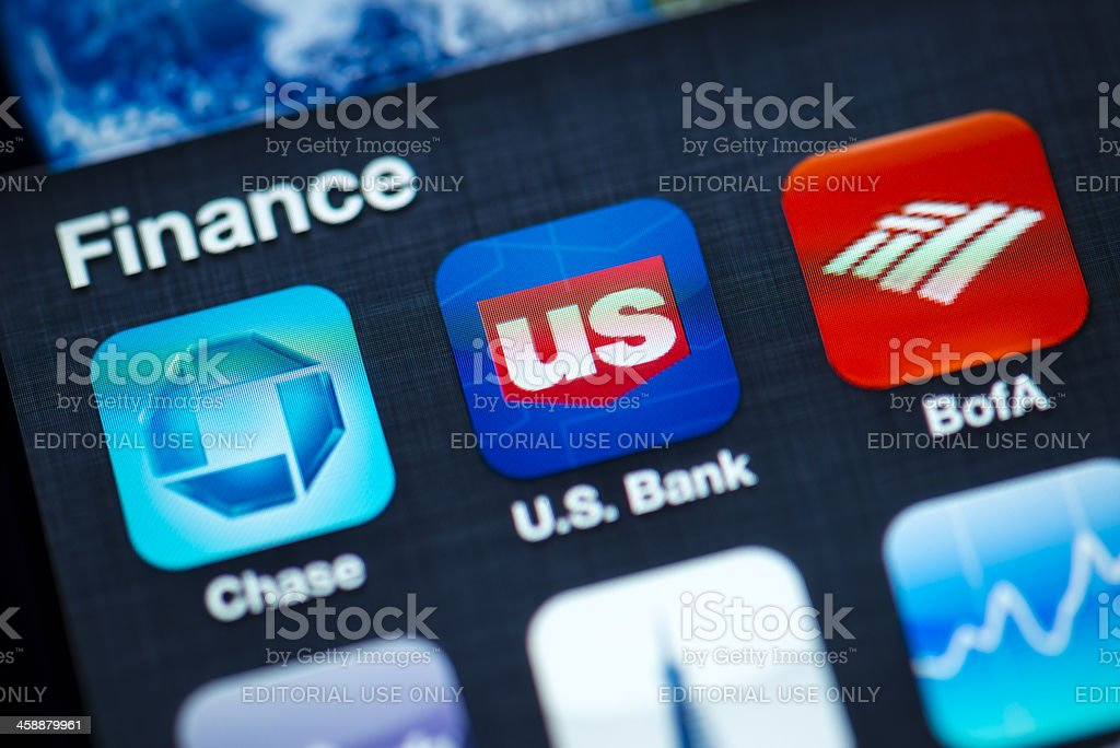 Finance Apps on Apple iPhone 4s Screen stock photo
