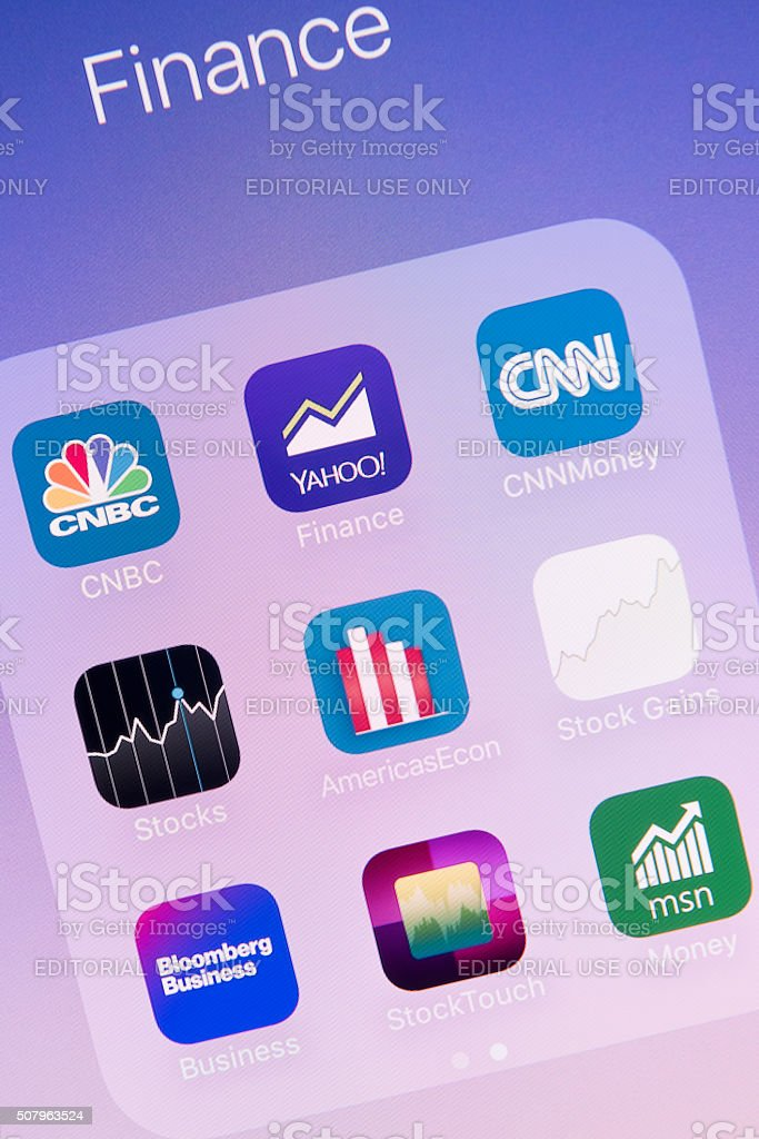 Finance  apps on Apple iPhone 6S Plus Screen stock photo