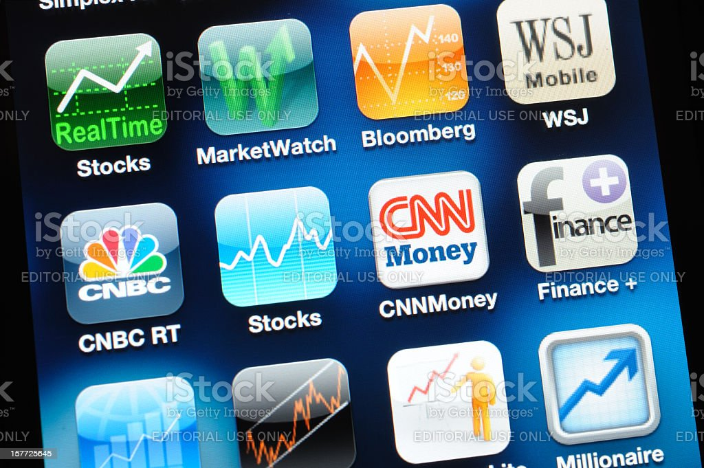 Finance Apps on iPhone screen royalty-free stock photo