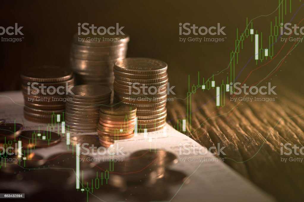 Finance background with money and graph. stock photo