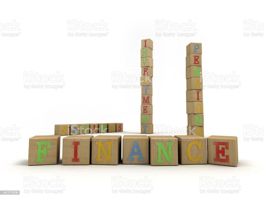 Finance concept - Child's play building blocks stock photo