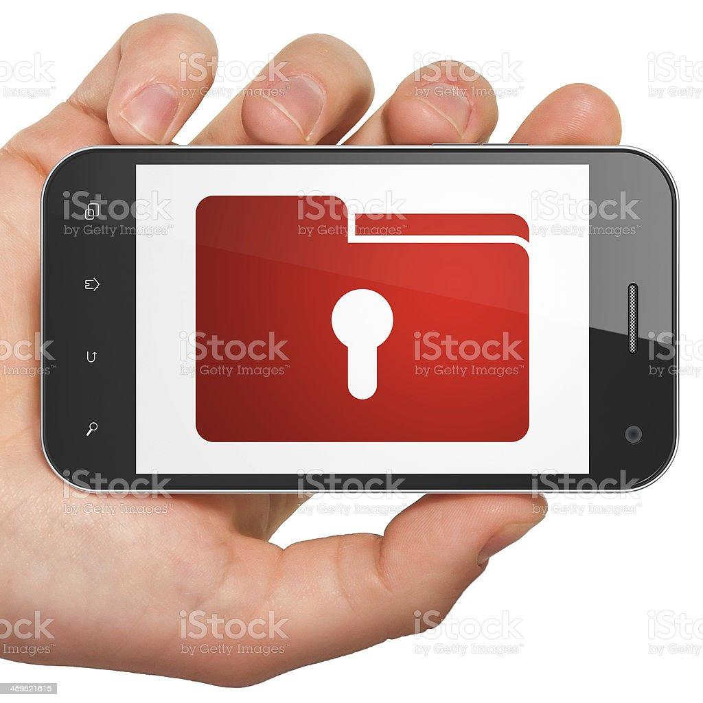 Finance concept: Folder With Keyhole on smartphone stock photo
