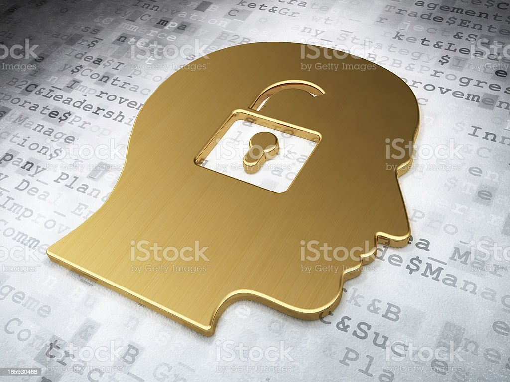 Finance concept: Golden Head With Padlock on digital background royalty-free stock photo