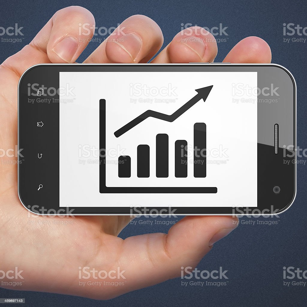 Finance concept: Growth Graph on smartphone stock photo