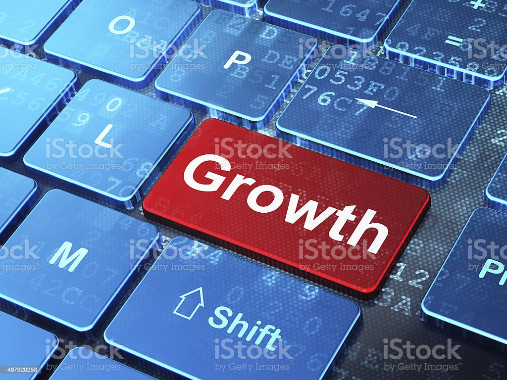 Finance concept: Growth on computer keyboard background royalty-free stock photo