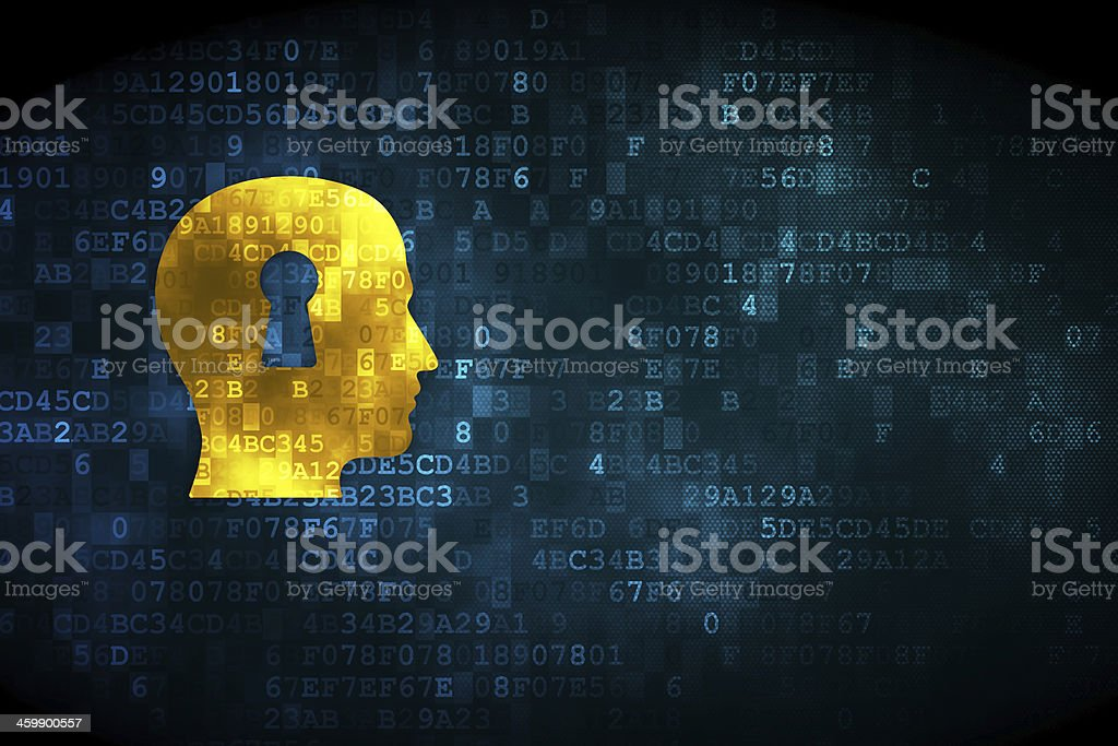 Finance concept: Head With Keyhole on digital background stock photo