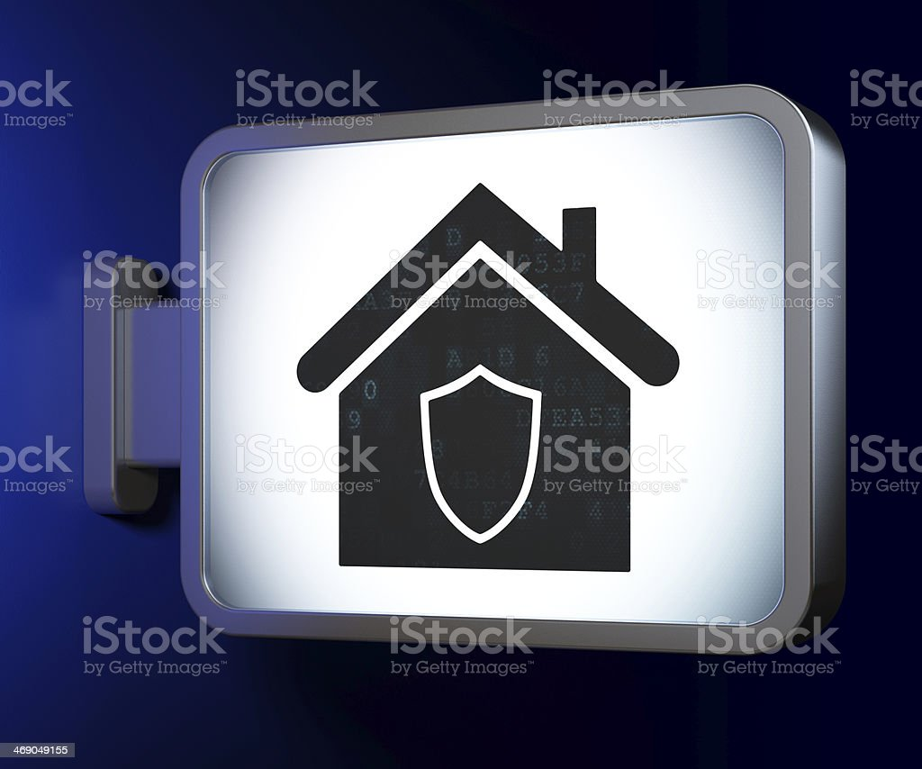 Finance concept: Home on billboard background royalty-free stock photo
