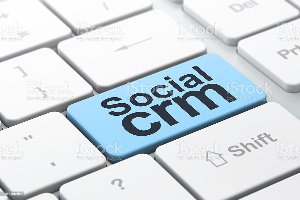 Finance concept: Social CRM on computer keyboard background royalty-free stock photo