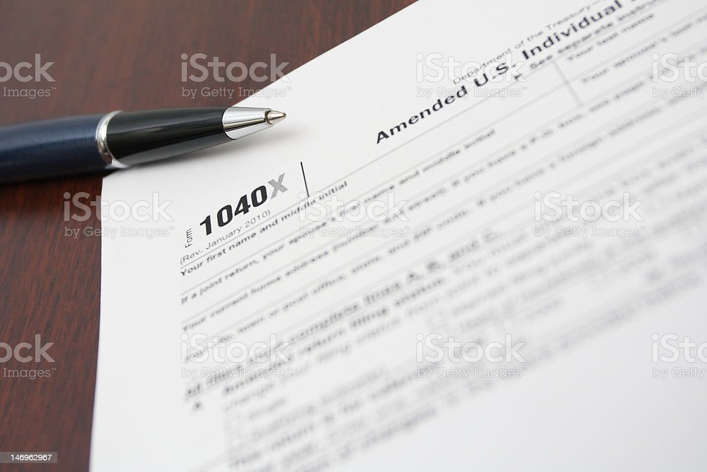 Finance concept with 1040X tax form royalty-free stock photo