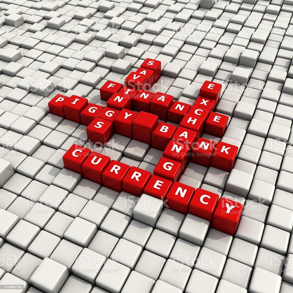 finance convex blocks crossword royalty-free stock photo