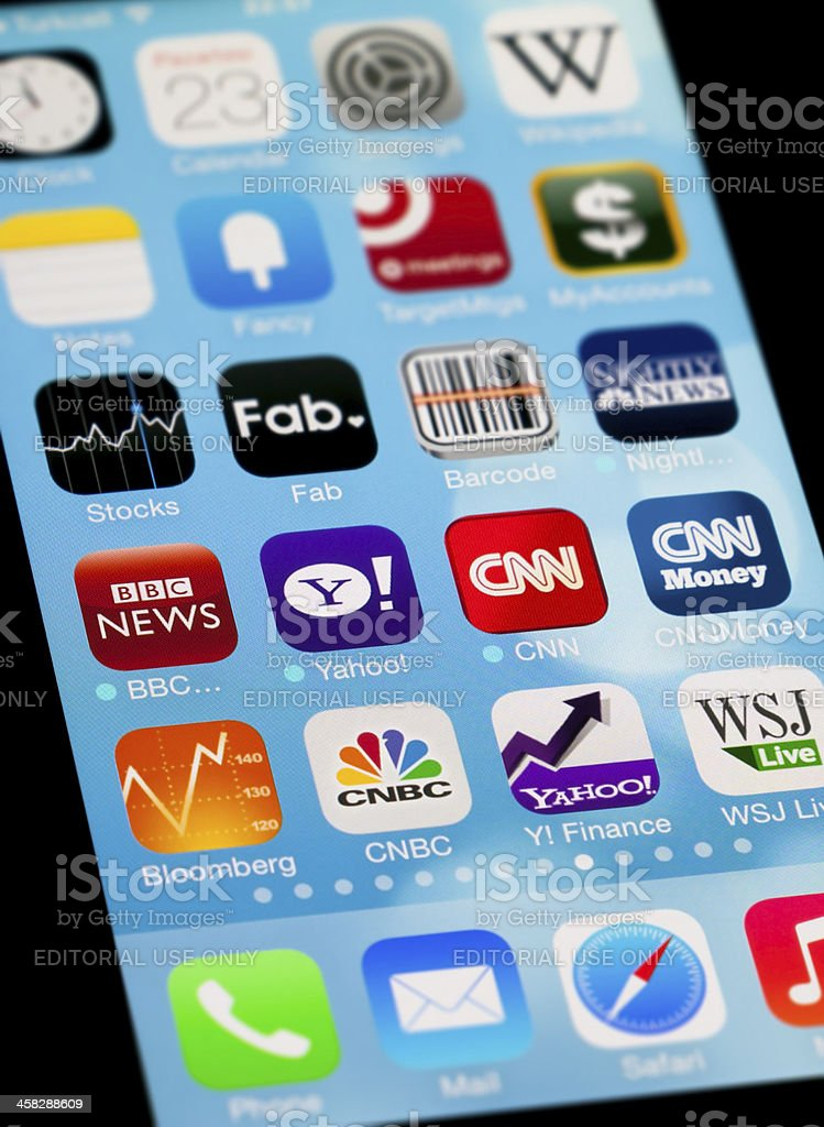 Finance & Economy Apps on Apple iPhone Screen stock photo