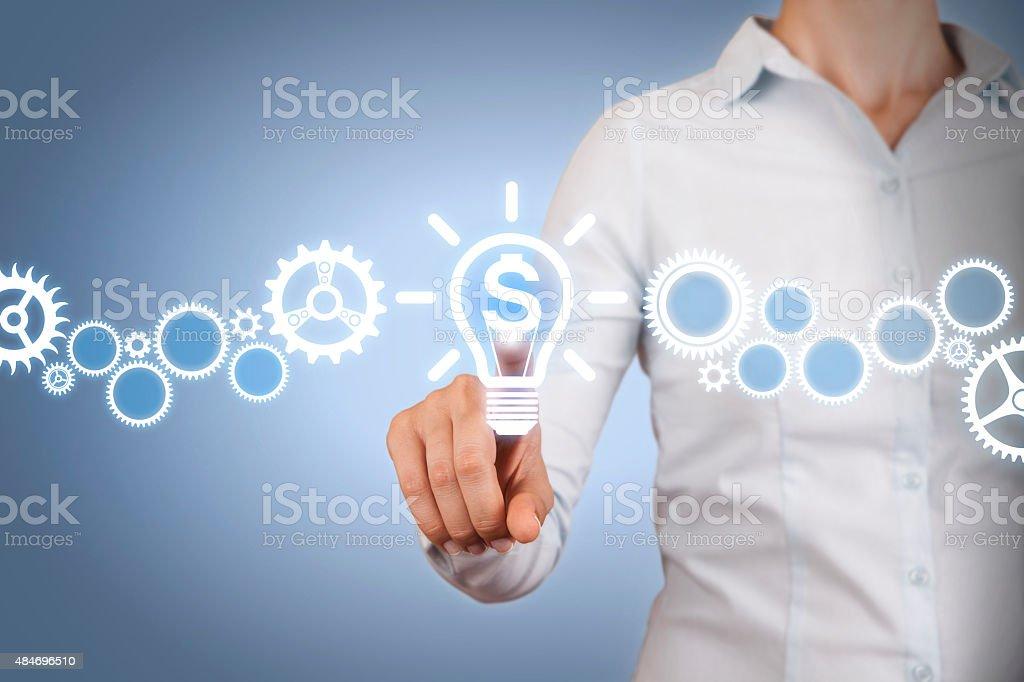 Finance Idea Conceptual Working on Visual Screen stock photo