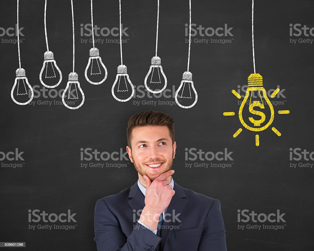 Finance Idea on Chalkboard stock photo